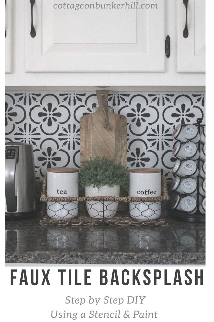 Faux Tile Backsplash Cottage On Bunker Hill Faux Tiles Diy Kitchen Backsplash Kitchen Tile Diy