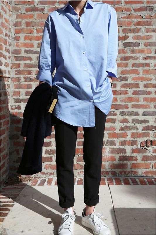 boyfriend button up, classic black trousers & white leather sneakers