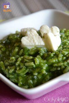 risotto alla crema di spinaci e mozzarella vert