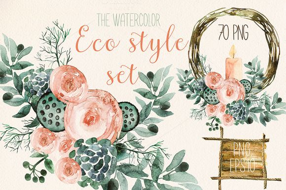 Watercolor eco style set by Spasibenko Art on @creativemarket. Awesome resource for designers.