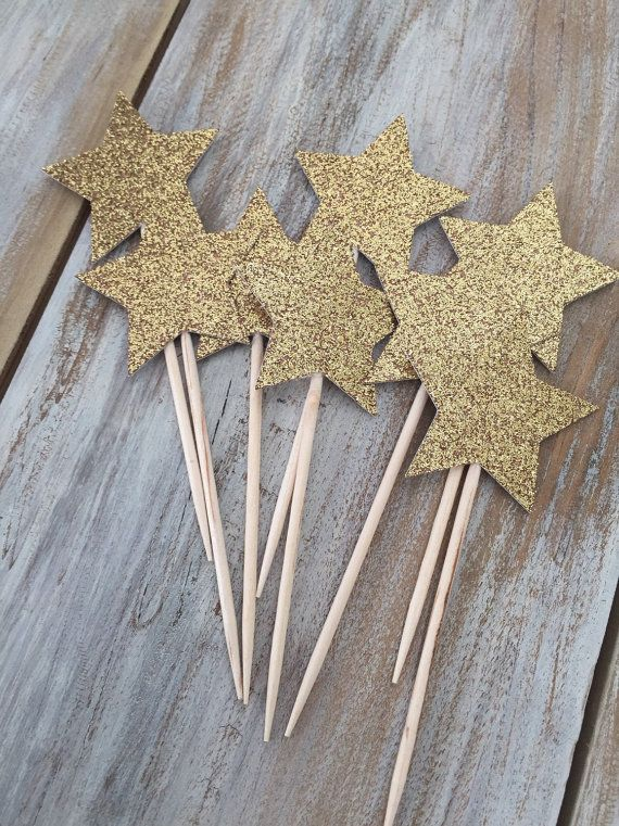 Star Cupcake Toppers Twinkle Twinkle Little by EricasCrafties