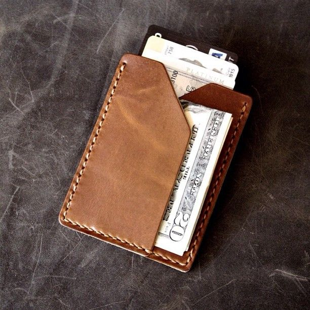 """Rex"" handmade leather slim wallet in saddle tan. www.BasAndLokes.com"