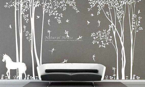 Nature vinyl forest tree wall decal with fairy decal baby for Collant mural walmart