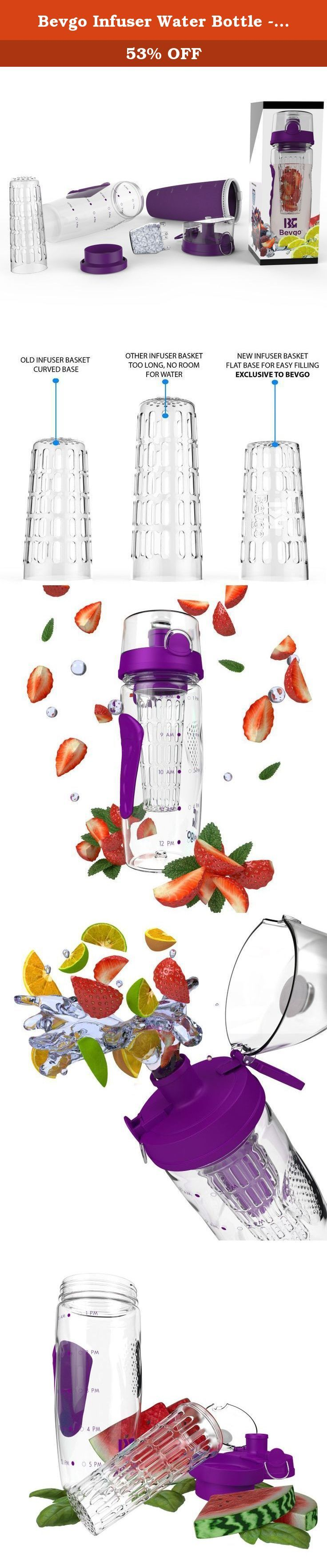 """Bevgo Infuser Water Bottle - Large 32oz - Hydration Timeline Tracker - Detachable Ice Gel Ball With Flip Top Lid - Quit Sugar - Save Money - Multiple Colors with Recipe Book Gift Included. HOW OFTEN HAVE YOU SAID """"I DON'T DRINK ENOUGH WATER, BUT I WANT TO""""? What better way to refuel and stay hydrated than with fresh fruit. The Bevgo Fruit Infuser Water Bottle is the original and best made infuser on the market. It's perfect for the office, gym, yoga, hiking, camping, travelling and even…"""