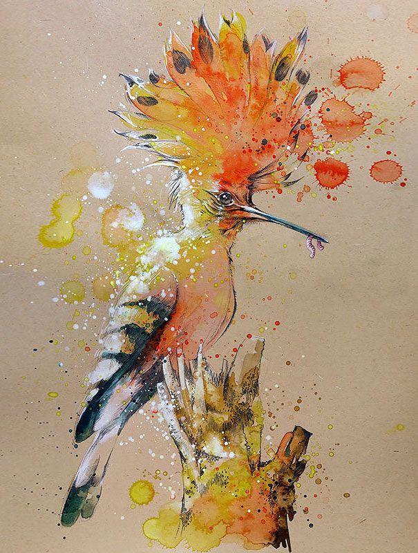 Les aquarelles danimaux de Tilen Ti  Dessein de dessin