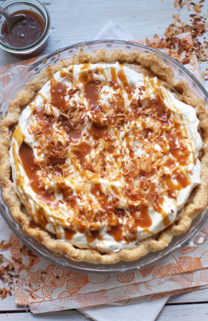 Toasted Coconut Caramel Cream Pie via The Baker Chick