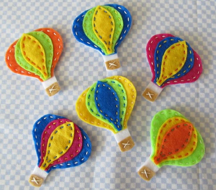 Hot Air Balloon Felt   http://www.etsy.com/listing/76970504/6pc-hot-air-balloon-felt-applique-set