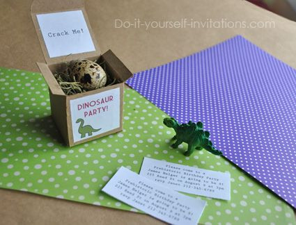 131 best diy party invitations images on pinterest diy party diy dinosaur birthday invitations make these unique dinosaur egg invites with a printable box and solutioingenieria Image collections