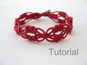 Macrame pulsera patrón rojo encaje patrón de por Knotonlyknots