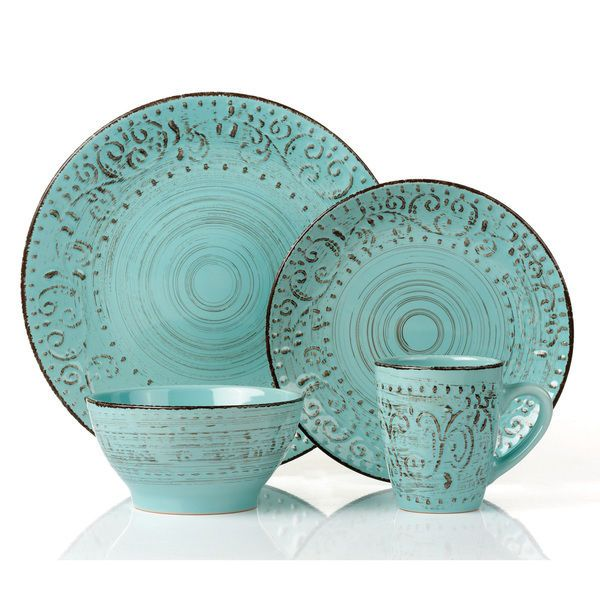 16 Pc Round Stoneware Dinnerware Set Distressed Green Blue Lorren Home Trends #LorrenHomeTrends