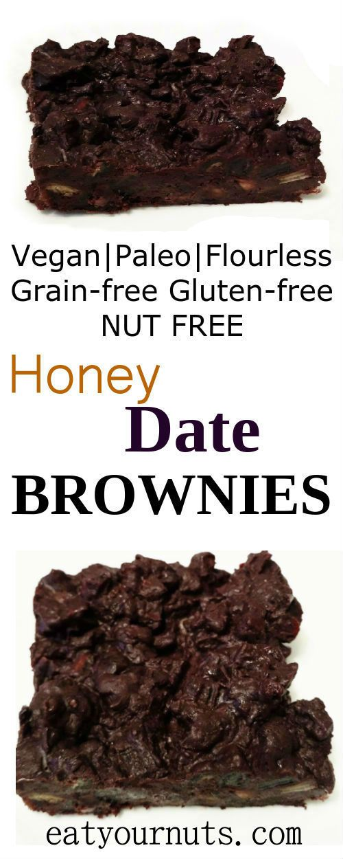 Deliciously sweet Honey Date Brownies are Paleo, Vegan, flourless, nut-free, gluten-free, grain-free, dairy-free, sugar-free, legume-free, egg-free.