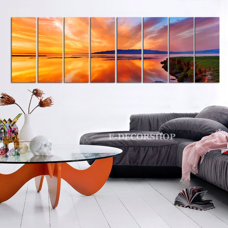 "Large Wall Art Colourful Sea and Beach Canvas Art Print 8 Panel Beach Sunset Sea Landscape 100"" x 32"" Large CANVAS"
