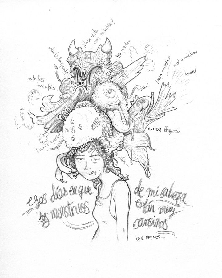 Pensamonstruos® que a veces son muy cansinos. Sólo en lápiz. Ilustración creada por Estela Labajo Duque
