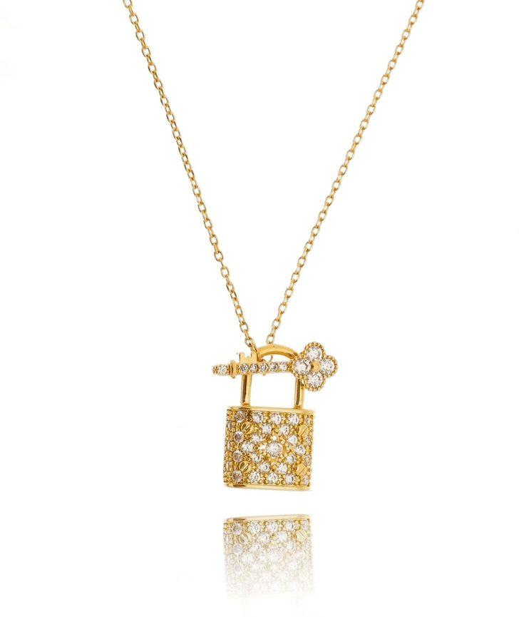 Colar de cadeado dourado com chave cravejados zirconias semi joias