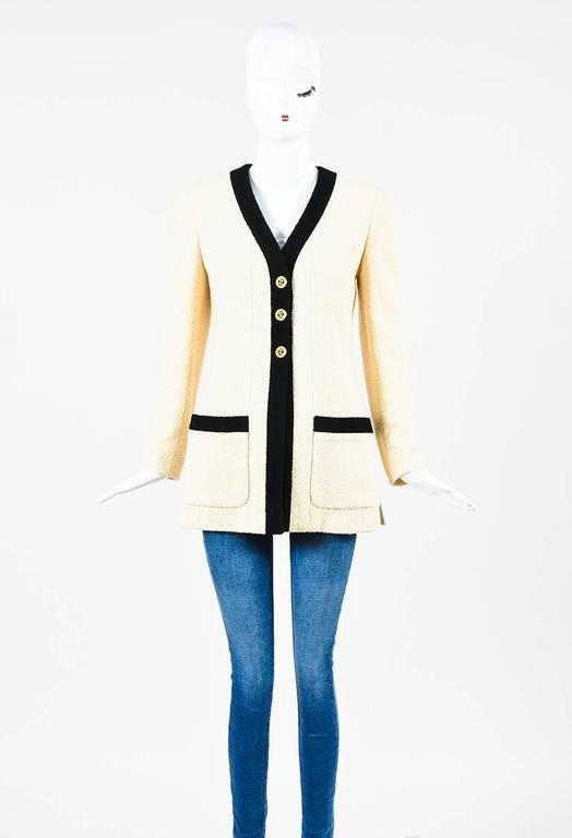 """Vintage Chanel Boutique 93P Cream Black Wool Gold Tone 'CC"""" Button Jacket"""