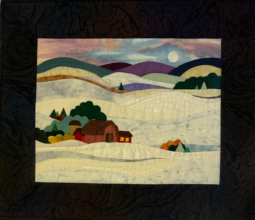COUNTRY SNOW SCENE: Landscape Quilts, Hands Appliques, Appliques Snow, Snowy Creations, Country Snow, Photos Quilts, Applique Snow, Scene Landscape, Snow Scenes