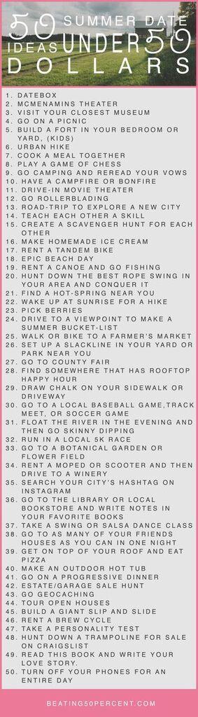 50 summer date ideas under 50 dollars www.beating50percent.com