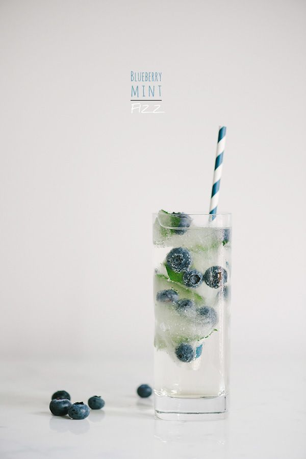 blueberry mint fizz with fresh fruit ice cubes.
