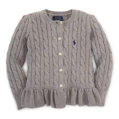 Combed Cotton Peplum Cardigan - Girls 2-6X Sweaters - RalphLauren.com