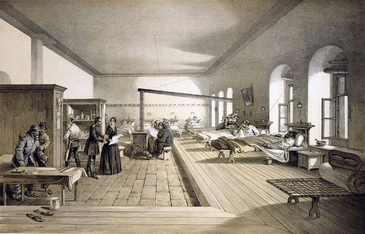 1856 lithograph of the hospital ward at Scutari where Florence Nightingale worked