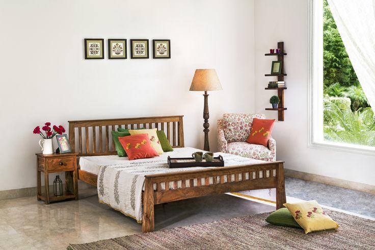 #bedroom #bed #snooze #relax #unwind #linen #sleep #cushions #dhurries #floor lamps #photoframe #bedside #table #home #decor #Fabindia