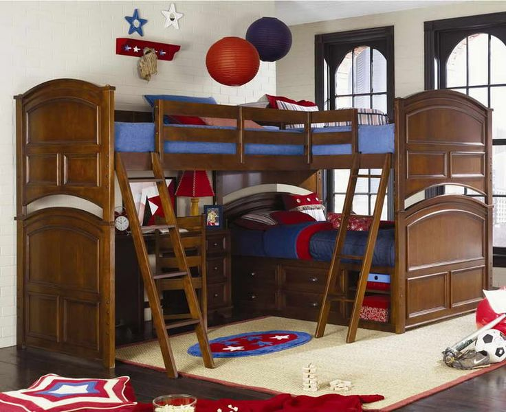Triple Bunk Beds With Brick Walls
