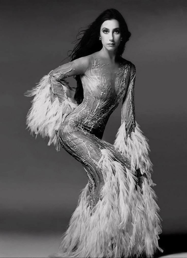 Cher in the Bob Mackie vulture feather dress she wore on ...