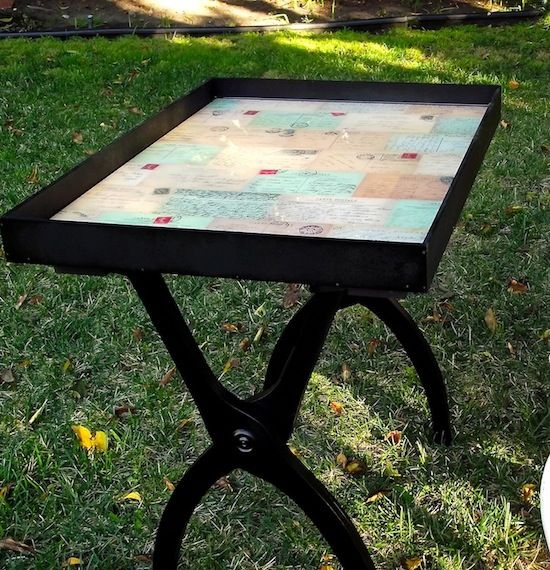 DIY side table from an old luggage rackDiy Ideas, Trays Tables, Luggage Racks, Small Tables, Side Tables, Furniture Makeover, Diy Furniture, Mod Podge,  Wheelbarrow