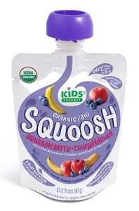 Kids Gourmet Squoosh Squoosh is an organic snack that delivers one full serving of fruit and vegetables in every pouch. All four Squoosh flavours have no  added sugar or salt, are kosher, and are nut-free and gluten-free.