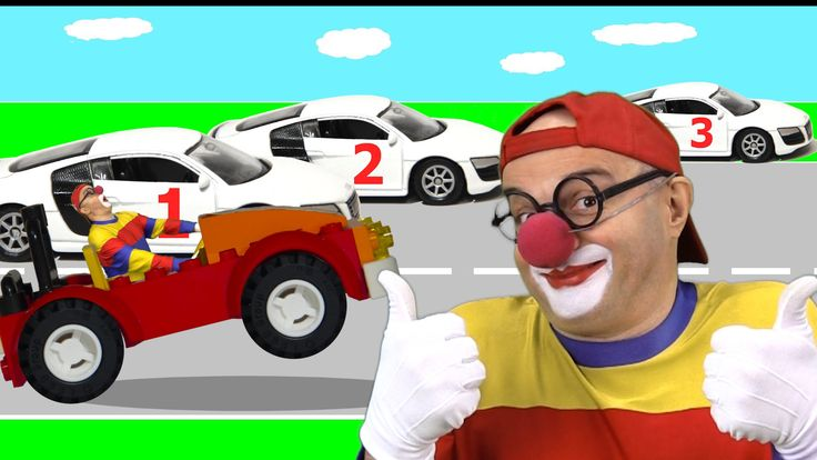 Car Clown - Learning to Count Cars Cartoon - Numbers Videos for Kids