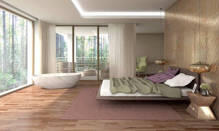 bedroom with bathtube