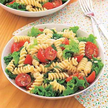 Make a creamy Caesar salad dressing and add to cooked fusilli pasta, along with tomatoes and Parmesan cheese, for a flavorful side dish...