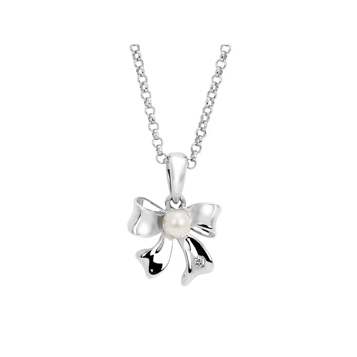 """Little Diva Diamonds Sterling Silver Diamond Accent and Simulated Pearl Bow Pendant Necklace - Kids, Women's, Size: 16"""", White"""