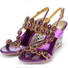 35-43 oro rosa viola donne strass di cristallo diamante sandali open toe donna slingback scarpe da sposa sandali tacco a zeppa(China (Mainland))