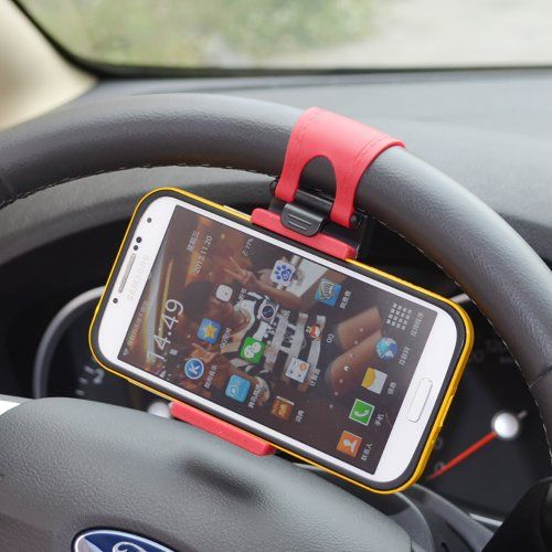nice Wooku Mobile Phone Holder Mount Clip Buckle Socket Hands Free on Car Steering Wheel for iPhone 5/5G/ 4/4S,HTC, Samsung Galaxy, PDA and Smart Cellphones