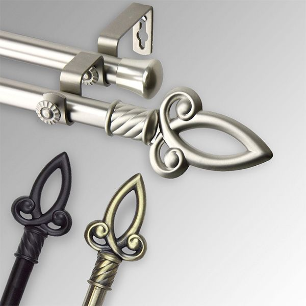 Allena Steel Double Decorative Curtain Rod Set With Images