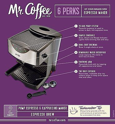 New! Mr Coffee Steam Espresso Machine Hot Cappuccino Latte Froth Maker Cafe