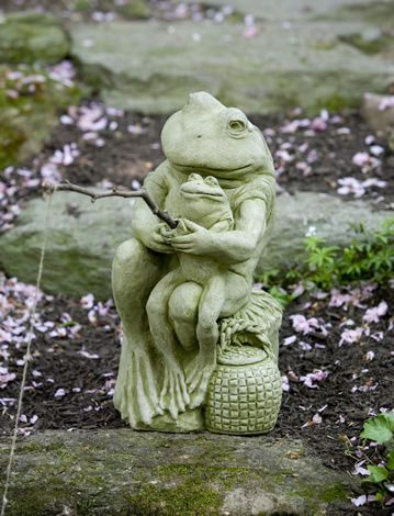 Gone Fishin' cast stone frog statue made by Campania International