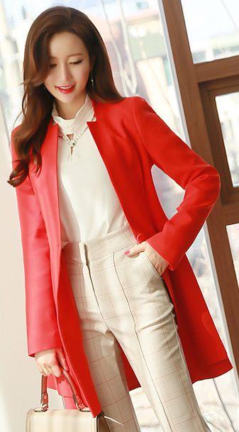 StyleOnme_Ribbon Belt Single Button Collarless Long Jacket #red #chic #elegant #feminine #koreanfashion #seoul #kstyle #springtrend