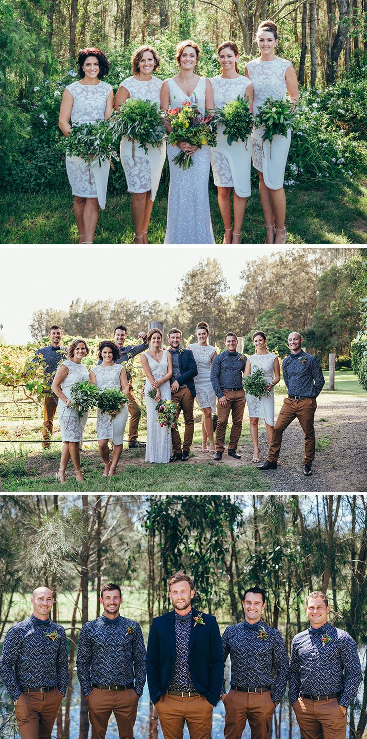 White bridesmaid dresses and groomsmen wearing patterned blue shirts and brown pants | Kieran Moore Photography