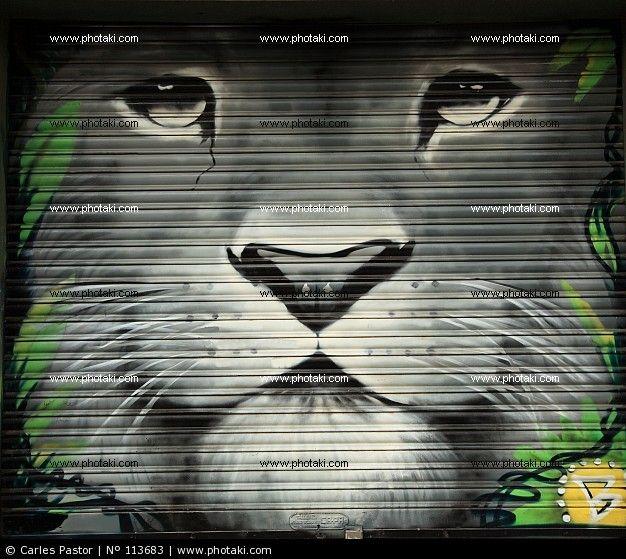 Grafiti de cara de león
