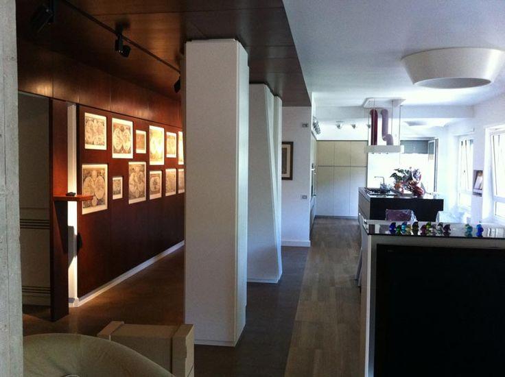 Abitazione privata a roma, Casa delle mappe, a parete pannello in corten e collezione di mappe antiche, Progetto Arch.Luca Braguglia
