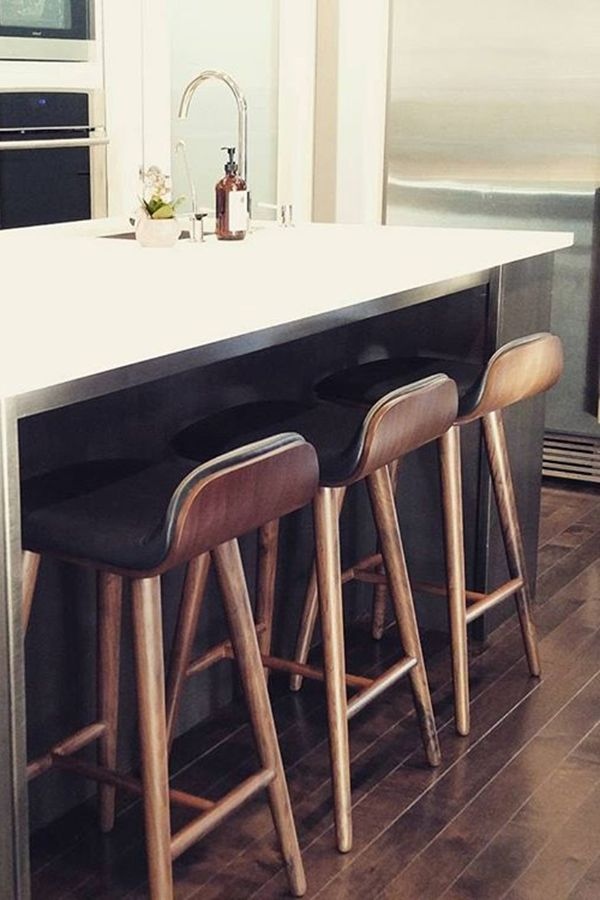 Kitchen Chairs And Stools Part - 16: Black Leather Bar Stool With Back - Walnut Wood | Article Sede Modern  Furniture