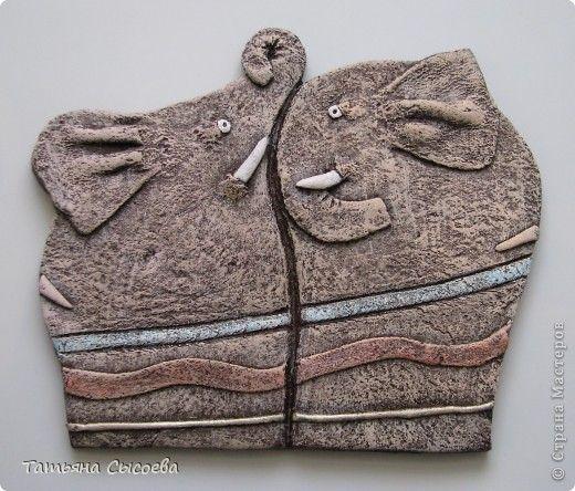 Картина панно рисунок Лепка СЛОН СЛОНИХА СЛОНЕНОК  Тесто соленое фото 1