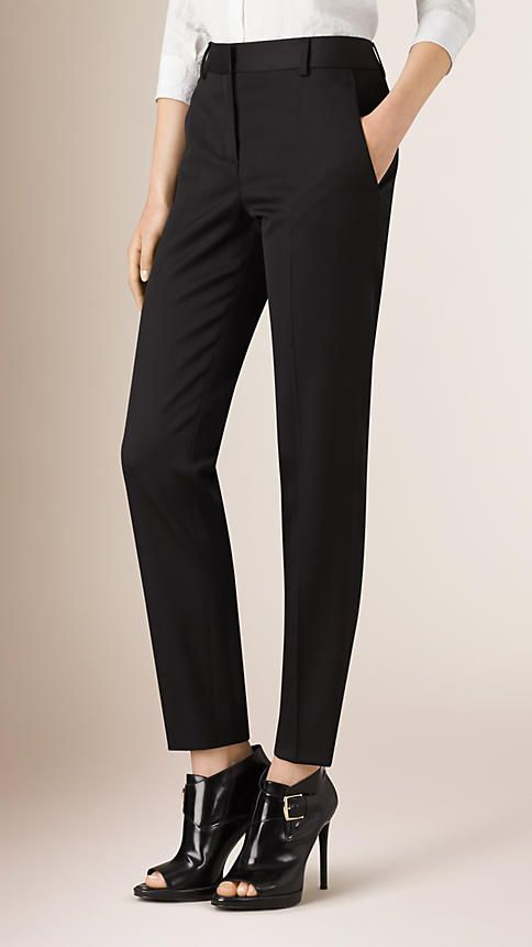 $625 Burberry Black Wool Blend Tailored Trousers - Image 1