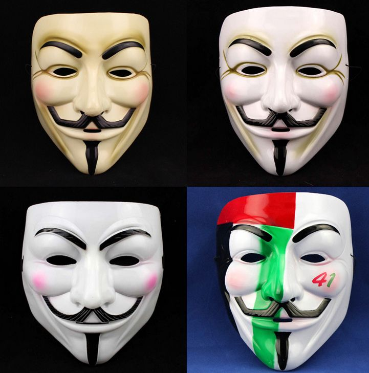 V for Vendetta Mask Anonymous Guy Fawkes Fancy Dress Adult Costume Accessory 4kinds