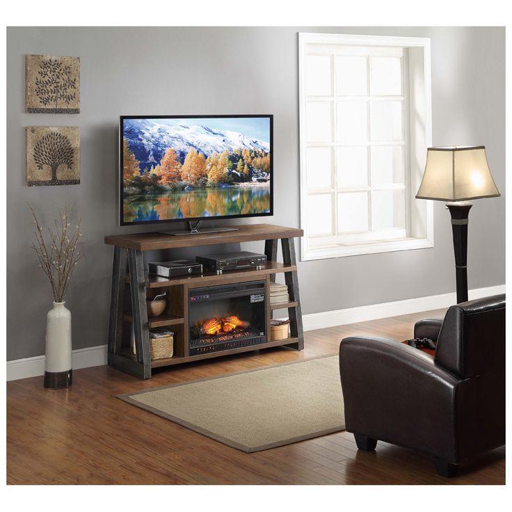Whalen Dakota 54 4 Shelf Tv Stand With Optional Fireplace Insert Distressed Warm Brown Finish
