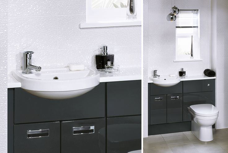 Combine practical planning with style in this cloakroom, where reduced depth units in midnight grey gloss and a space saving basin maximise an otherwise limited space #fittedfurniture #bathroomfurniture #cloakroom #myutopia