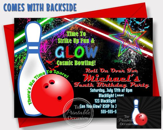LETS GLOW CRAZY WITH A COSMIC BOWLING BIRTHDAY INVITATION!! Whos ready to go bowling!! Theres no time to spare! Get your neon on! Its time to glow to indoors with one of these trendy and popular neon glow cosmic bowling birthday invitations!! Once I receive all of the info