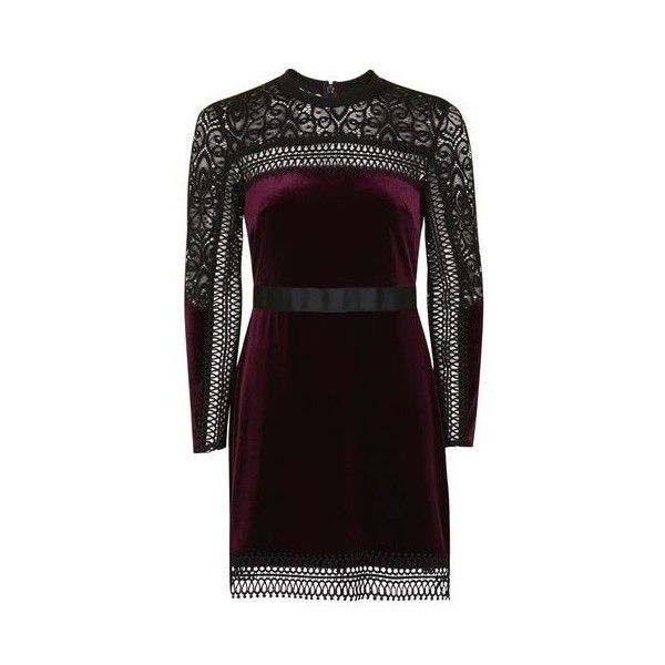 Topshop Petite Velvet Lace Trim a-Line Dress (€64) ❤ liked on Polyvore featuring dresses, berry red, red a line dress, red velvet dress, textured dress, purple a line dress and topshop dresses